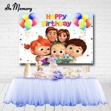 Inmemory cocomelon família fotografia backdrops pequena estrela balões crianças festa de aniversário fundos para estúdio foto