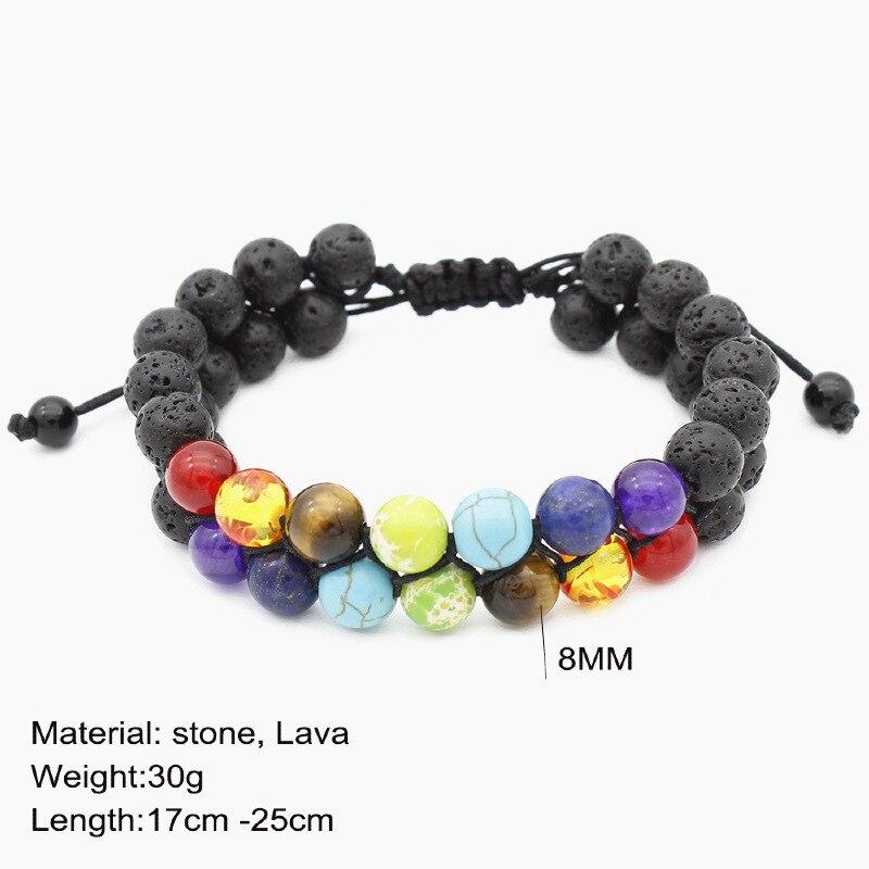 Wholesale 7 Chakra Healing Beaded Bracelet Natural Lava Stone Beads Double Row Bracelet 8MM For Women Men Yoga Jewelry 10pcs Lot