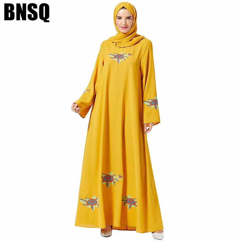 מזדמן מוסלמי רקמה העבאיה מקסי שמלת חיג 'אב ארוך Robe שמלות Vestidos קימונו מזרח התיכון עיד הרמדאן ערבי האסלאמי קפטן Baju
