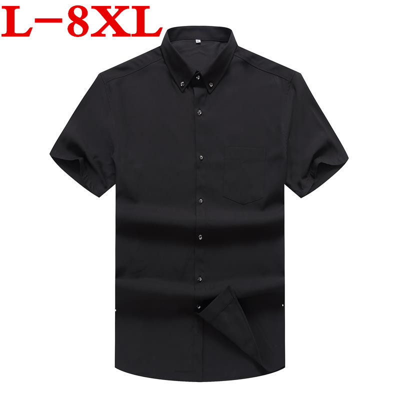 PLUS SIZE  New 8XL7XL 6XL 5XL Brand Men's Summer Business Shirt Short Sleeves Turn-down Collar Tuxedo Shirt Shirt Men Shirts