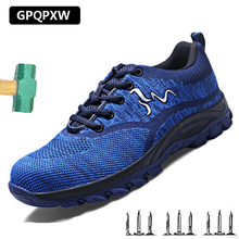Lightweight Flying Woven Shoes Work Boots Breathable Wear Mesh Cloth Labor Insurance Anti-smashing Puncture Safety