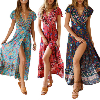 Womens new chiffon dress Summer sexy V-neck cardigan waist print Bohemian beach temperament long skirt cool big swing