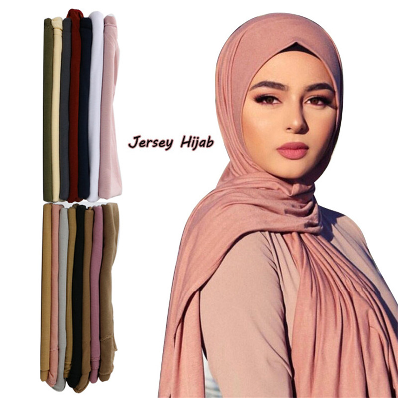 2020 New Muslim Hijab Women Jersey Scarf Shawls And Wraps Plain Hijabs Turban Foulard Femme Arab Woman Head Scarf Kopftuch