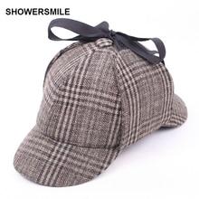SHOWERSMILE שרלוק הולמס כובע יוניסקס חורף צמר כומתות לגברים ציידים טוויד כובע אביזרי בריטי בלש כובע נשים