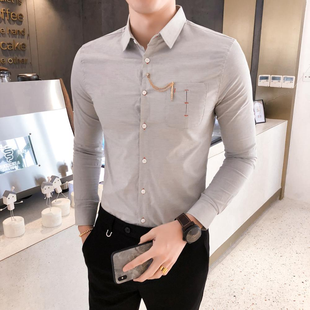 Domple Men Fashion Lapel Slim-Fit Long Sleeve Buttons Shirts with Zipper Pockets