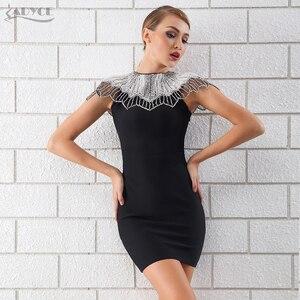 Image 3 - Adyce 새로운 여름 블랙 붕대 드레스 2020 여자 연예인 이브닝 드레스 드레스 Vestido 섹시한 비즈 다이아몬드 미니 활주로 클럽 드레스