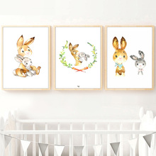 Cute Rabbit Mother Baby Carrot Wreath Cartoon Nordic Posters And Prints Wall Art Canvas Painting Pictures For Kids Room