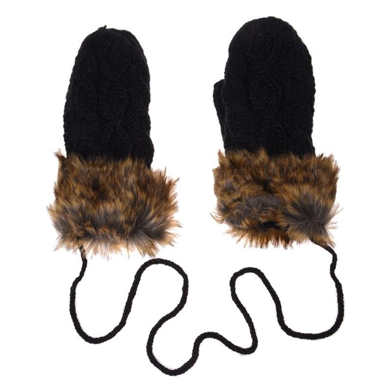 Warm Ladies Rag Wool Winter Snow Mittens Knitted Fleece Lined Fur Gloves
