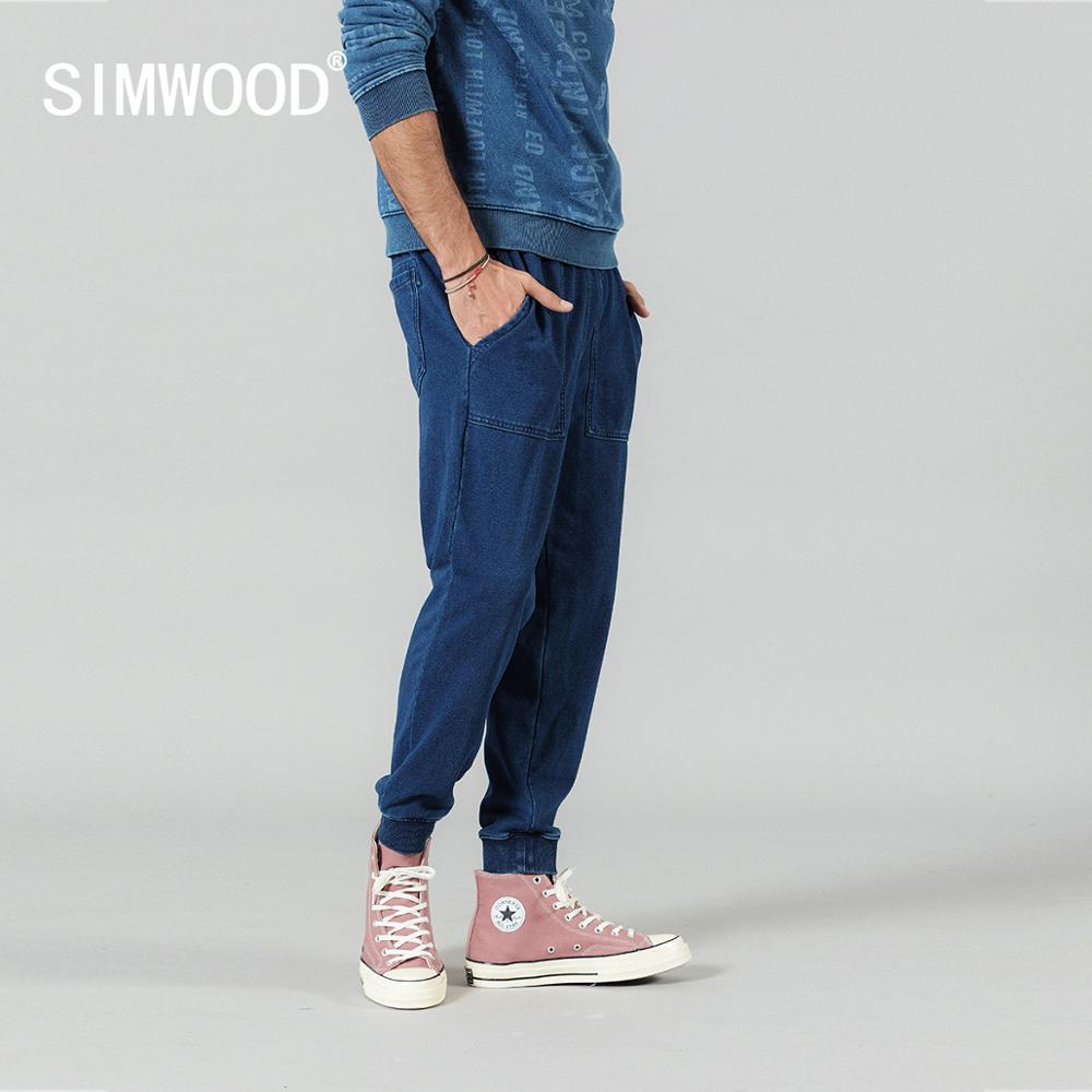 SIMWOOD 2020 Spring New Jogger Pants Men Jersey Lounge Pants Drawstring Sweatpants Indigo Washed Track Trousers SI980601