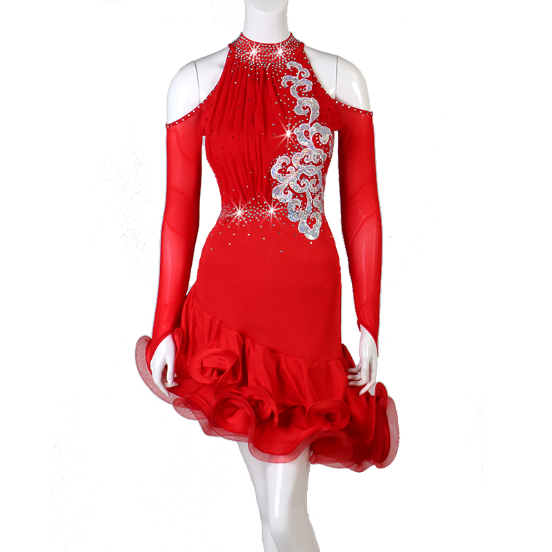 Latin Dance Dress For Women Red Rhinestone Long-Sleeve Salsa Dresses Professional Stage Clothes Competitive Latino Dress DL4554