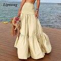 Plue Size 5XL Woman Skirts Elegant Beach Solid Loose Long Skirt Casual Ruffle Holiday Fashion Lady Beach Vintage Skirt Vestidos