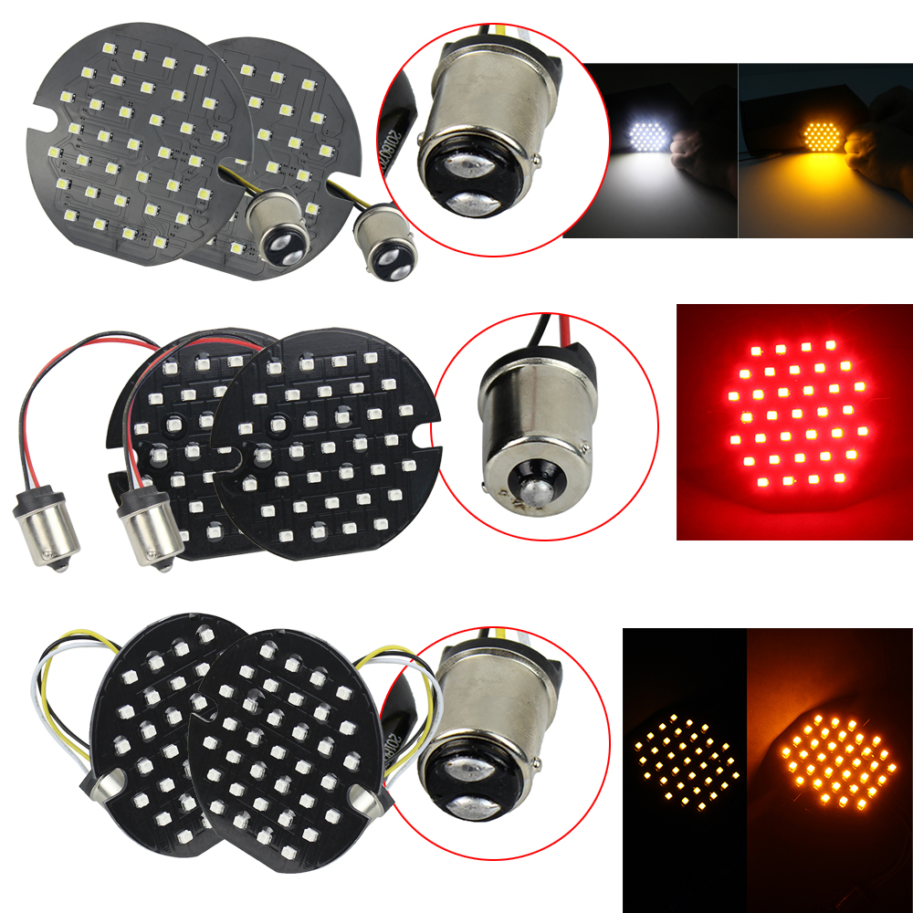 XMMT 3 1//4 LED Flat-Style Turn Singals 1156 RED Rear Insert Bulb Turn Signal Lights for Harley Touring Road Glide Road King
