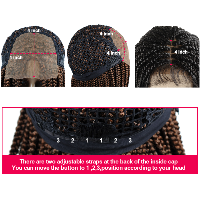 18'brown brown trançado perucas para afro feminino