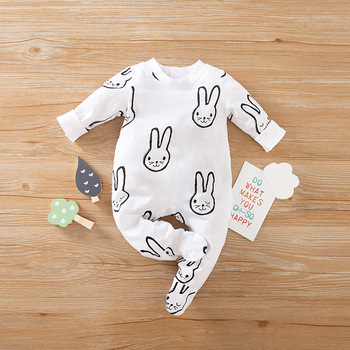 Newborn Baby Girl Clothes 0 3 6 9 12 Months New Born Infant Boy Jumpsuit Rabbit Costume Onesies Fall Footie Pajamas Outfits image