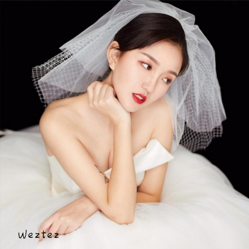 New Bride Veil Simple And Lovely Rhombic Grid Multi-Layer Short Paragraph Fluffy Wedding Accessories TS314