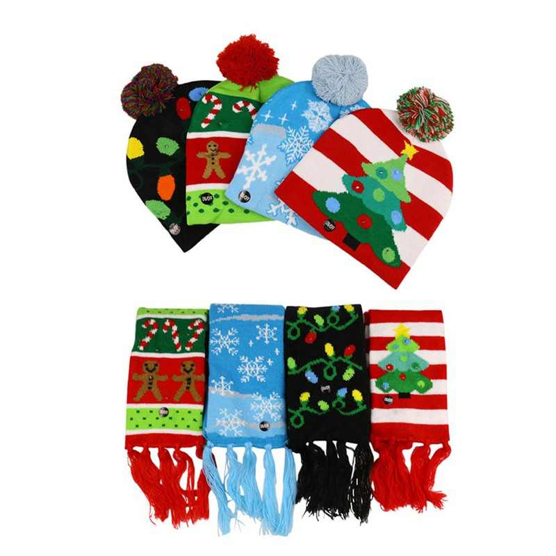 LED Christmas Hats Beanie Sweater Christmas Santa Hat Scarf Light Up Knitted Hat For Kid Adult For Christmas Party