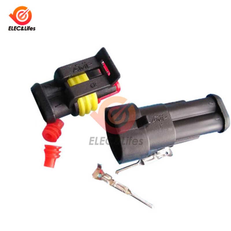 1Set 2 Pin Wanita Pria AMP SuperSeal PA66 Hitam Tahan Air Listrik Otomotif Konektor Plug untuk Mobil Sepeda Motor Otomotif