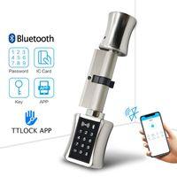 TTLock app Smart Cylinder Lock WIFI Electronic Door Lock Bluetooth Digital APP Keypad Code RFID Card Keyless Lock for EU Model