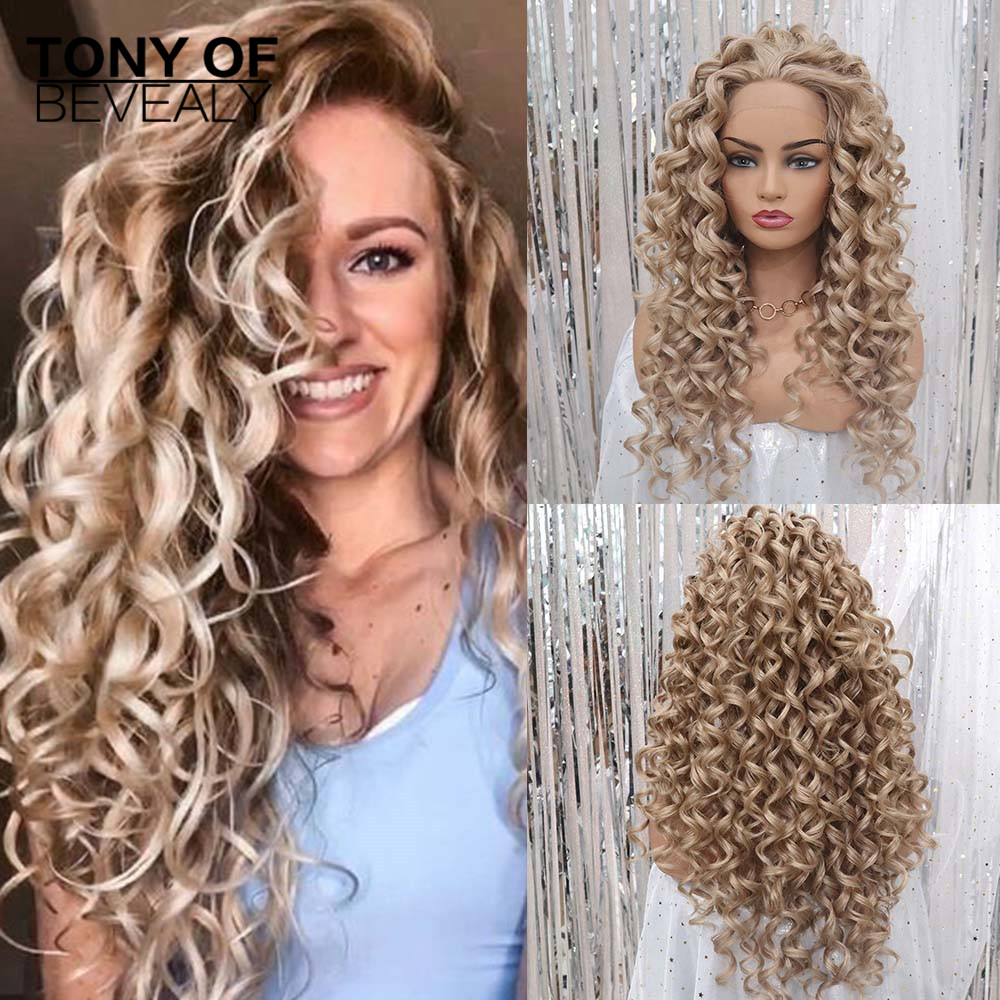 Ombre Brown Grey Natural Curly Heat Resistant Hair For Black Women Party Synthetic Lace Front Daily Wigs Middle Part