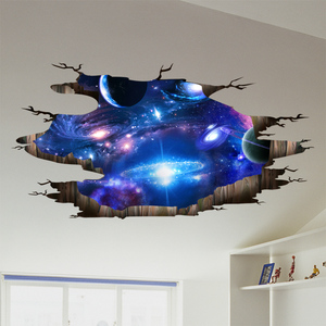 [shijuekongjian] Universe Galaxy 3D Wall Stickers DIY Outer Space Milky Way Wall Decor for Kids Rooms Floor Ceiling Decoration