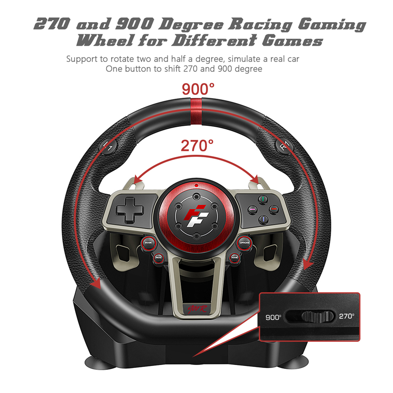 2021 Gamepad Controller Gaming Steering Wheel 900° Racing Video Game Vibration For PC/PS3/PS4/Xbox-One/Xbox 360/N-Switc 2