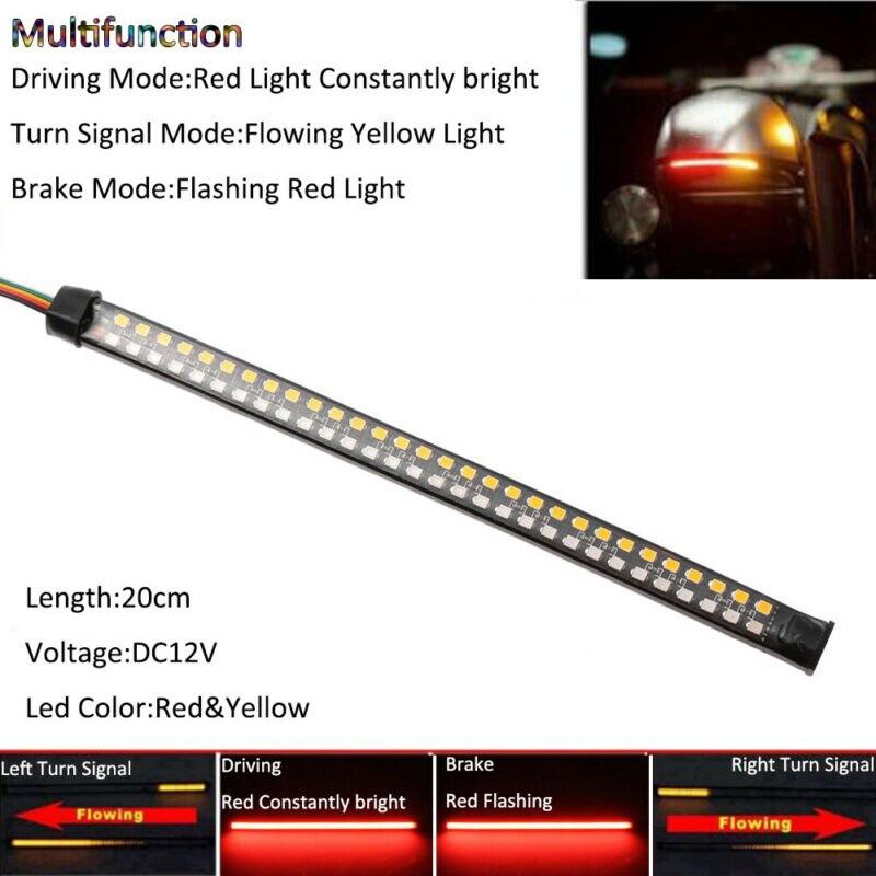 Red/Yellow  20cm Motorcycle Strip Light DRL Flowing Turn Signal Brake Tail Stop Lamp LED Strip Light DC 12V