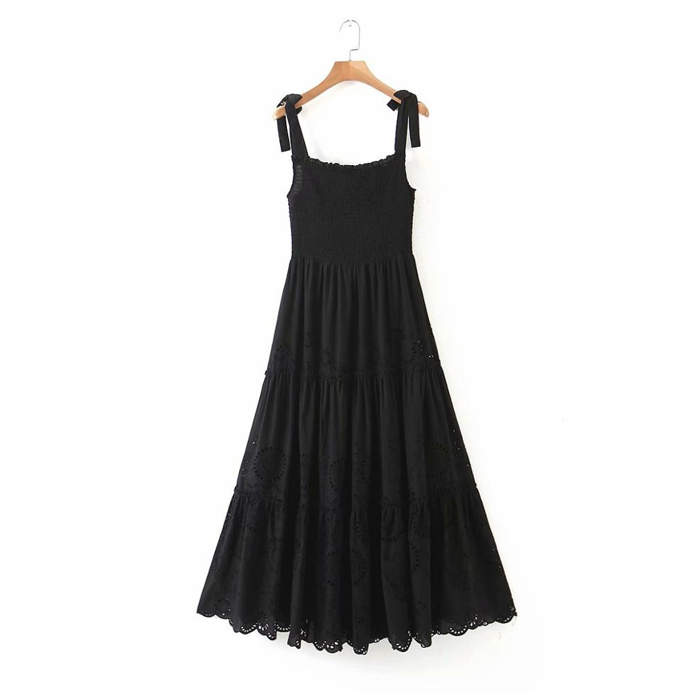 Women Fashion Hollow out Embroidery Black sling Dress Female bow tied spaghetti strap Elastic Vestidos Chic Midi Dresses DS3697
