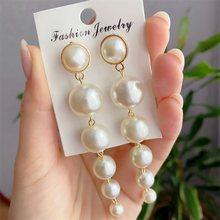 Boucles d'oreilles longues EN imitation de perles pour femmes, bijoux coréen exquis, à la mode, pour fête de mariage, cadeau