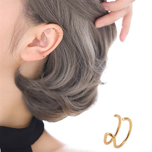 5Pcs/Set Ear Cuff Gold Leaves Non-Piercing Ear Clips Fake Cartilage Earring Jewelry For Women Men