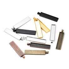 5 Teile/los Rechteck Leere Anhänger Einstellungen Cabochon Tray Lünette Blank Basis Fit Cabochon Cameo DIY für Halskette Schmuck Machen