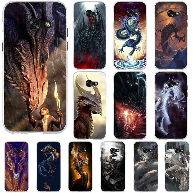 Soft TPU Silicone Mobile Phone Cases Bags For Samsung Galaxy J1 J3 J5 J7 A3 A5 A7 2016 2017 Coque Shell Games Dragon Print image