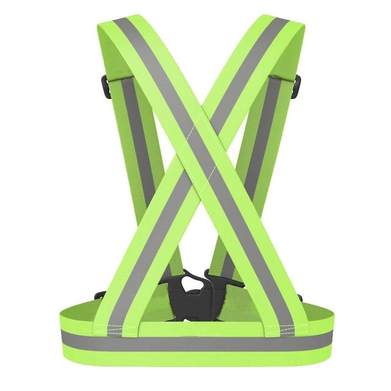 NEW-Reflective Safety Vest Reflective Belt Visibility Cross Belt Band Harness Belt Waist Belt, Green