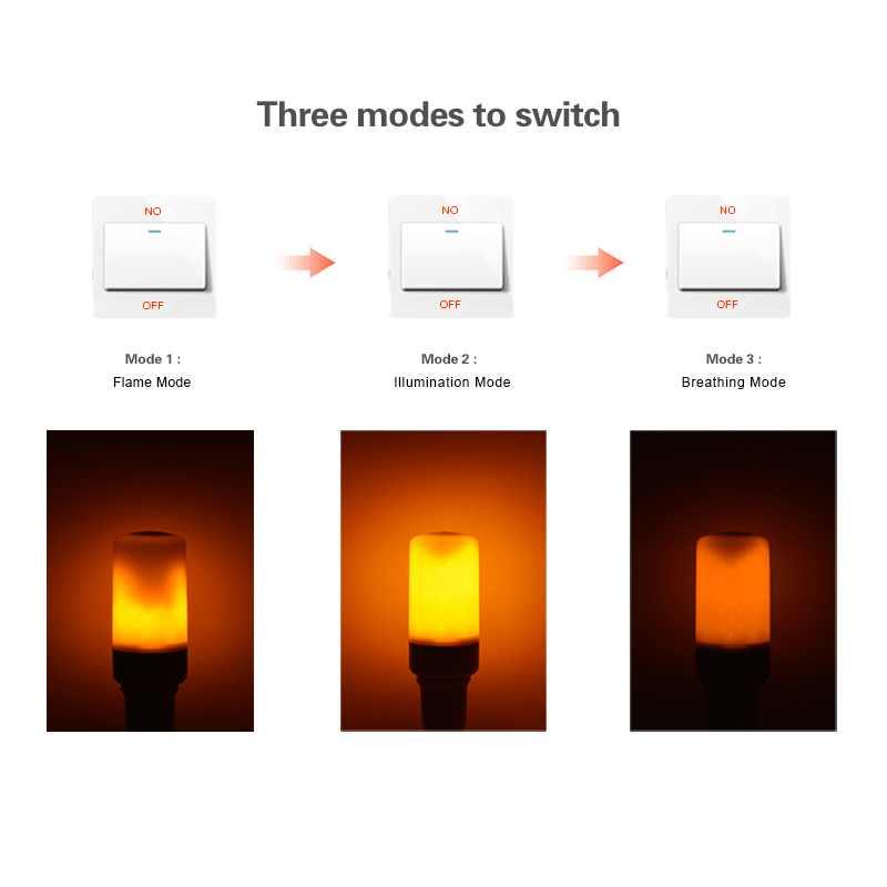 LED efecto llama bombilla de fuego luz nocturna E27 lámpara de llama 85-265V llama parpadeante emulación luminaria para la decoración del hogar de vacaciones
