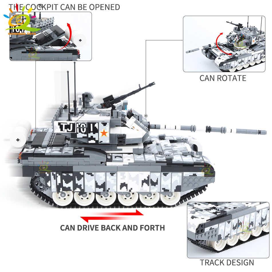 HUIQIBAO 1640 stücke Military 99A Schlacht Tank Gepanzerten Fahrzeug Bausteine WW2 Waffe Soldaten Figuren Stadt Wagen Ziegel Spielzeug