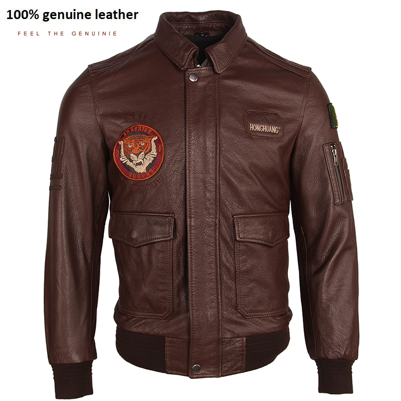 Embroidery Men's Leather Jacket 100% Cow Skin Jackets Brown Black Soft Flight Force A-2 Leather Coat Autumn Male Clothing M251