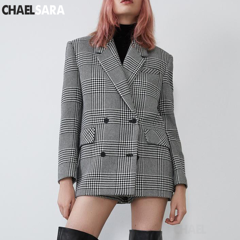 Vintage Houndstooth Double Breasted Blazers Women Elegant Long Sleeve Suits Women Casual Plaid Blazers And Jackets