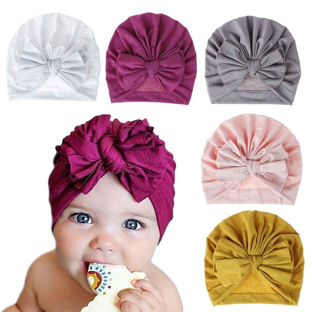 18 Colors Baby Hat Soft Cotton Bow Beanies Hat Caps Top Knot Turban Boys Girls Children Hair Bows Photography Props Cap