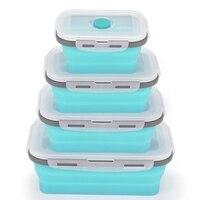 4Pcs Set Faltbare Silikon Lebensmittel Mittagessen Box Obst Salat Lagerung Lebensmittel Box Container Geschirr Bequem Mittagessen Box-in Lunchboxen aus Heim und Garten bei