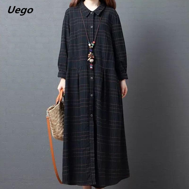 Uego Plaid Fashion Blouse Dress Long Sleeve New Autumn Dress Cotton Linen Loose Women Dress Plus Size Female Casual Spring Dress 7
