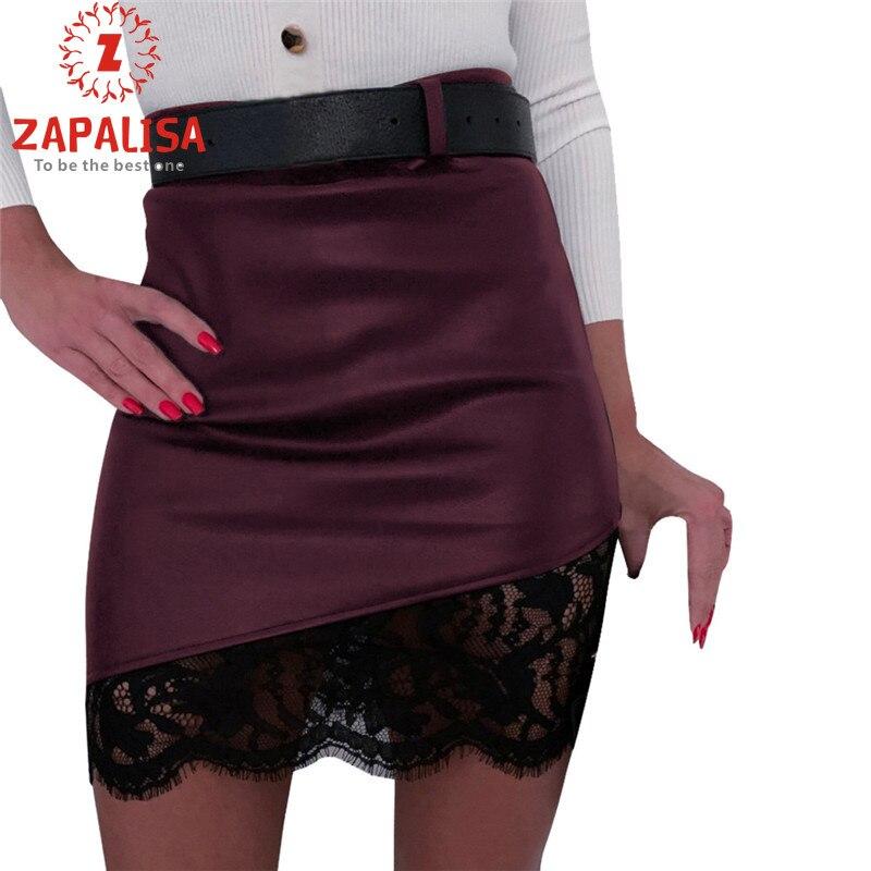 Elegant Slim Hips Black Skirt Sweet Lace Patchwork Decor Sexy Skirt Fashion Back Zipper Design Streetwear Mini Leather Skirt