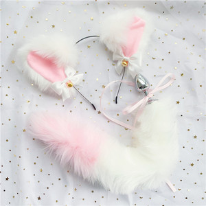Image 4 - Cute Soft Neko Ears Headbands Faux Fox Tail Metal Butt Anal Plug Erotic Anime Cosplay Accessories Adult Sex Toys for Couples