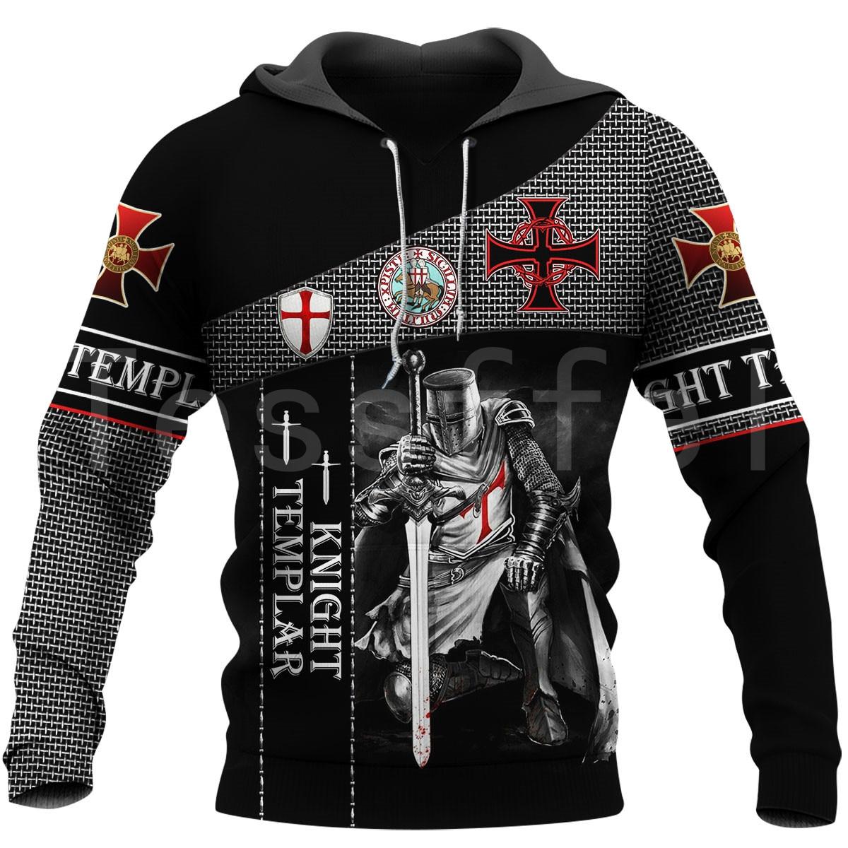 Tessffel Newest Knight Templar Armor Jesus God Guard Cavalier Pullover Streetwear NewFashion 3DPrint Men/Women Funny Hoodies D-9