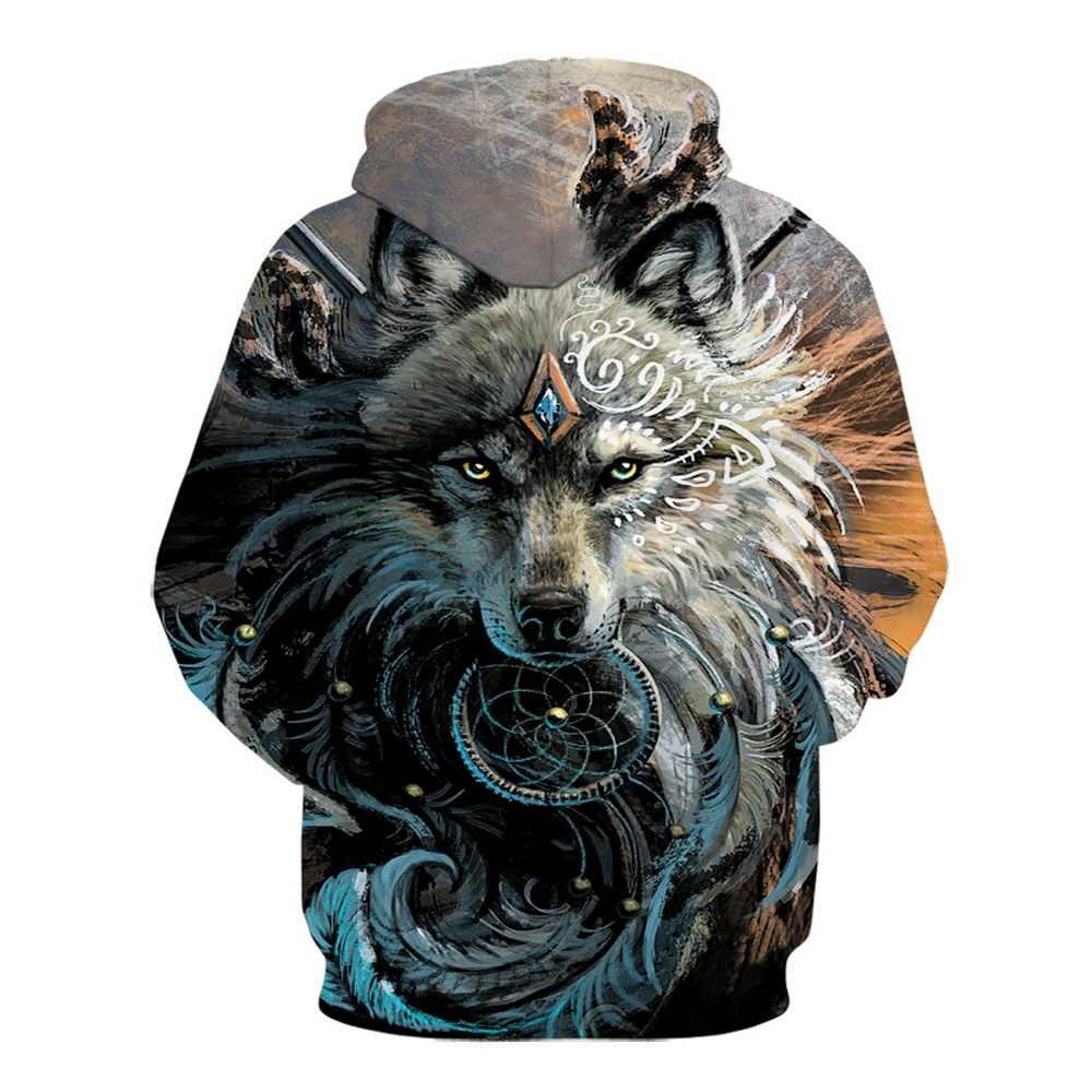 2019New Lobo sudaderas con capucha 3d Animal de los hombres Sudadera con capucha sudaderas Unisex Hip Hop con grandes bolsillos Tops ropa de talla grande