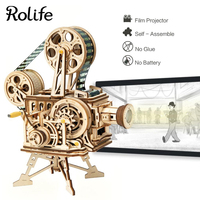 DIY Miniature Figurines Home Decor Vintage Movie Projector Assembly Model Hand Crank Film Vitascope Table Decoration Gift LK601
