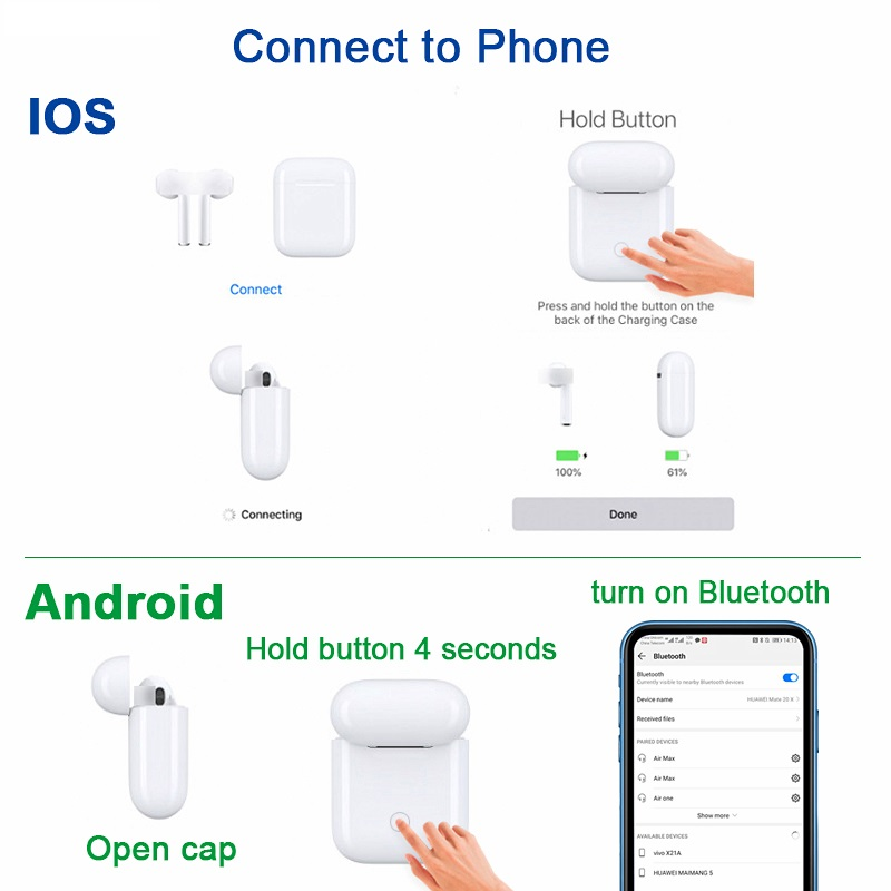 Air 2 Bluetooth Earphone Wireless earphones Touch control Earbud Surround Sound & Charging case for Android iPhone 1:1 airpods
