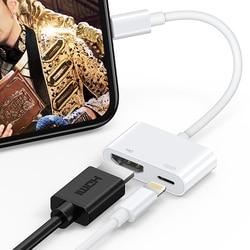 Natrberg Pencahayaan untuk HDMI 1080P Audio Digital AV Adaptor Pengisian Port untuk iPhone iPad 4K Sync Layar Converter HD TV Proyektor