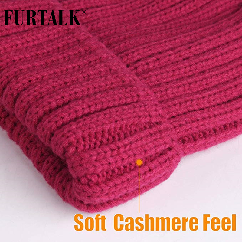 FURTALK Winter Hat for Women Beanie Hat with Fleece Lining Men Lady Knitted Winter Cap for Female Girl Red Black White Pink Grey 2