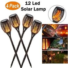 1/2/4 Uds 12 LED a prueba de agua llama parpadeante antorcha Solar lámpara de jardín decoración de paisajes de exterior césped y jardín Luz