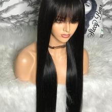 Parrucca per capelli umani al 100% con frangia parrucche corte per capelli umani Bob per donne nere parrucca con frange lunghe da 30 pollici nera diritta brasiliana a buon mercato