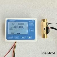 US211M Digital Flow Meter with USC HS21TLT Water Flow Sensor 1 30L/min Flow Totaliser with NTC10K Temperature Sensor